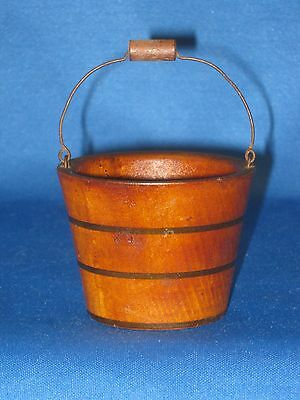 "Antique Salesman's Sample (Miniature) Wooden Bucket Wire & Wood Bale 2"" Tall"
