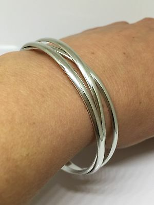 PRE-LOVED Solid Sterling Silver 925 Russian Bangles Bracelet 27 Grams