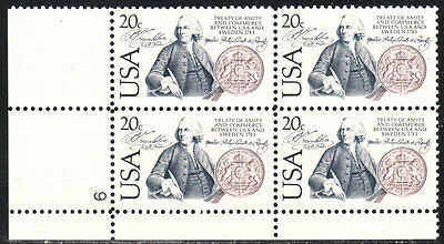 US #2036 20¢ US - Sweden Relations LL Plate Block MNH