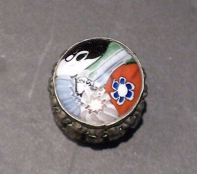Vintage Millefiori Glass Topped Pill,Trinket,Jewelry Box,Silver Metal,Container