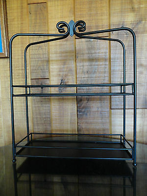 """Black Metal free-standing Spice Rack with 2 Shelf Tiers holds 5"""" bottles or jars"""