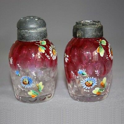 Antique PAIR ENAMELED RUBINA Cranberry GLASS SALT & PEPPER SHAKERS Inv Honeycomb