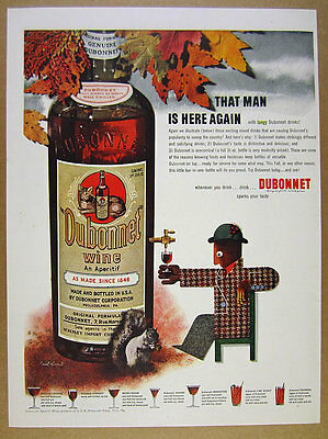 1942 Paul Rand fall leaves bottle man design art Dubonnet Wine vintage print Ad