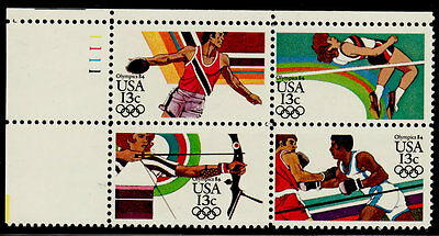 US #2048-2051 13¢ Summer Olympic Games UL Plate Block MNH