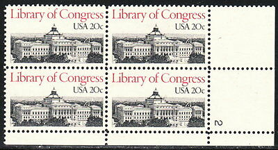 US #2004 20¢ Library of Congress Plate Block MNH