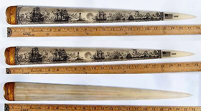 SCRIMSHAW SWORDFISH  BILL PEN-AND-INK  K. HENRY 1847  SHIP  LIGHTHOUSE whale