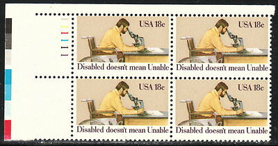 US #1925 18¢ Disabled Doesn't Mean Unable Plate Block MNH