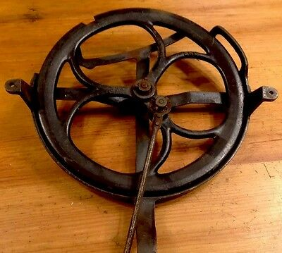 "Antique Steampunk 10"" Bull Pulley Wheel W/ Mounting Bracket Cast Iron Farm Tool"