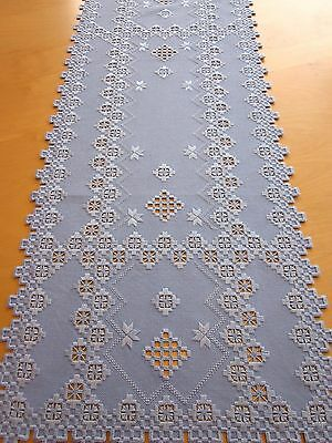 """HARDANGER NEW BEAUTIFUL  HANDCRAFTED tabel runner sky blue 38 """" x 15.5"""""""