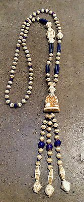 Neiger Glass Bead Necklace Egyptian Revival, 1920's, Chinese Man, Czech Flapper