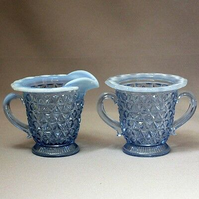 Antique Vintage IMPERIAL KATY BLUE Laced Edge SUGAR & CREAMER Blue Opalescent
