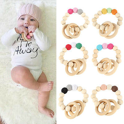 Natural Wooden Crochet Baby Newborn Teether Teething Bracelet Ring Rattle Toy TP