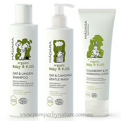 Madara Organic Baby & Kids Shampoo, Gentle Wash & Hydrating Lotion Pack