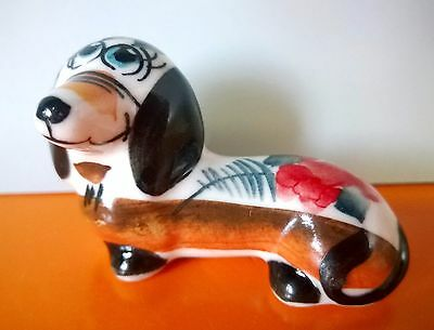 Dachshund figurine dog porcelain handmade 2 inch for collections from Russia