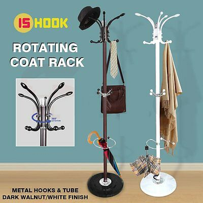 15 Hook Rotating Clothes Hat Coat Umbrella Stand Rack Garment Hanger Iron Metal