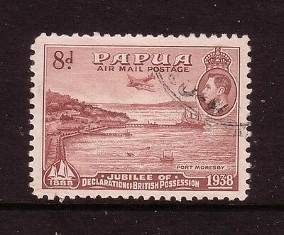 PAPUA....  1938  8d airmail jubilee used