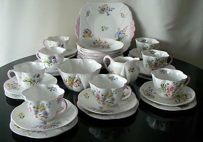 Shelley china 35pc 'Wildflowers' afternoon tea set Dainty shape pink trim 13668