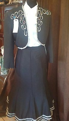 Ladies Black Mexican Suit Western or Period Re-enactment