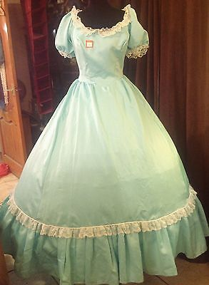 Ladies Pale Green Satin Dress Western or Period Re-enactment