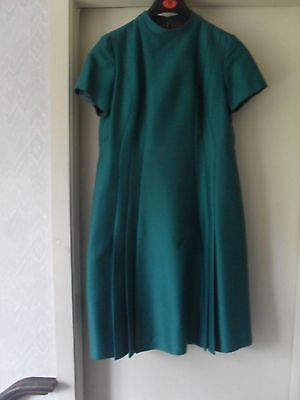 VintageSize 18(16)  PEGGY FRENCH COUTURE 1960s short sleeve Dress t= Jade Green