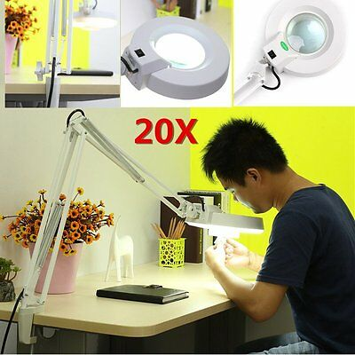20X Magnifier Table LED Lamp Desktop Magnifying Lighting Beauty Salon Spa Lamp