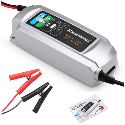 Excelvan Battery Charger Maintainer 3A 6V/12V Trickle Car RV Motorcycle Mower US
