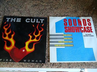 """2 The Cult 7"""" Singles Fire Woman Picture Sleeve & Outlaw The Fall Ep Goth Rock"""