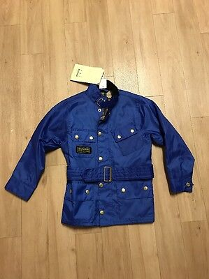 Barbour Boys Rainbow International Jacket Cobalt Blue XS 4/5 New With Tags $159