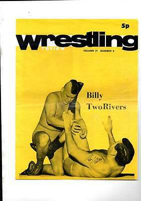 Uk Wrestling Review Programme Billy Two Rivers On Front 1974  Vol21 Number 8