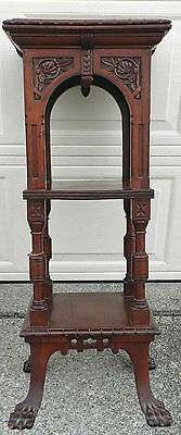 Antique Mahogany Victorian Aesthetic Eastlake Lion Paw Pedestal Tier Stand Carve