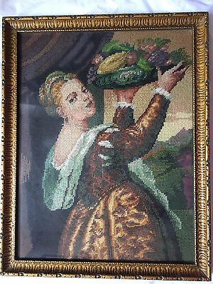 Vintage Old Tapestry Needlepoint Picture Framed Lady with Fruits