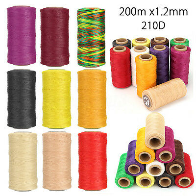 200m x1.2mm Thick 210D Leather Sewing Waxed Coarse Thread Spool Upholstery Cord