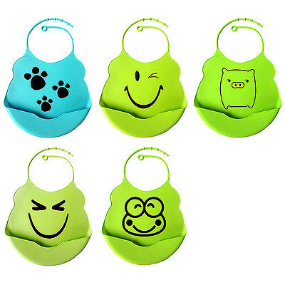 Baby Toddler Soft Silicone Gel Wipeable Washable Bib with Crumb Food Catcher