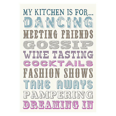 Home & Dry Tea Towel - 100% Cotton Tea Towel Funny - My Kitchen is for Dancing