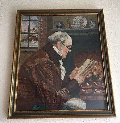 Vintage Old Tapestry Needlepoint Picture Framed Old Man Grandad Fireplace Office