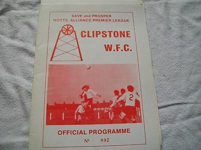 Clipstone v Clifton c Early 1980's Programme