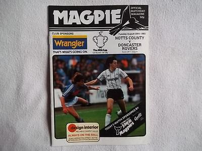 Notts County v Doncaster Rovers 20.8.85 programme