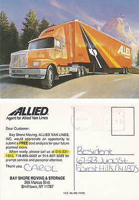 Allied Van Lines Bay Shore Moving & Storage Articulated Lorry Colour Postcard
