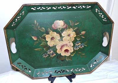 "Toleware Tray Hand Painted Flowers 18.25"" x 13.5"" vtg large reticulated"