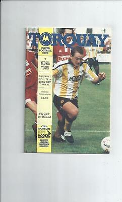 Torquay United v Yeovil Town FA Cup Football Programme 1992/93