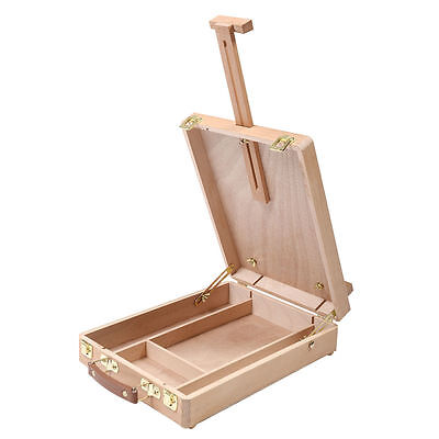 Easel Artist Craft w/ Integrated Wooden Box Art Drawing Painting Table Box O8W9
