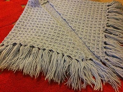Shawl blue knitted tassels 60s 70s winter warm vintage retro large wrap scarf
