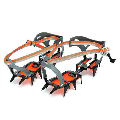 Mountaineering Hiking Crampons 14 Teeth Antislip Ice Snow Shoe Spikes T1Z6