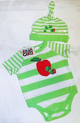 The Very HUNGRY CATERPILLAR Size 00 New Romper & Hat Set, New/Tags, Eric Carle