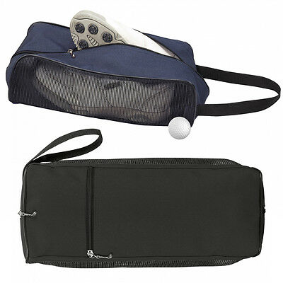 Black or Blue Golf Shoe Boot Bag with Mesh vented side and Golf Club Zipper