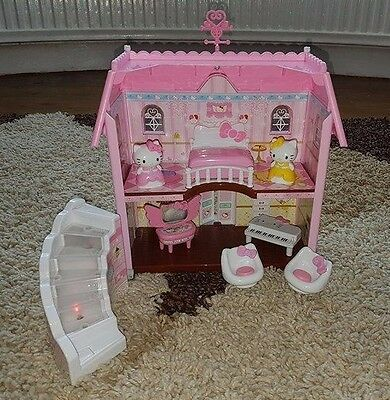 Hello Kitty House With Figures Accessories And Light Up Stair Case