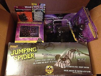 ANIMATED JUMPING DROPPING SPIDER PROPS LOT 6 LIGHTS WEB bugs spiders