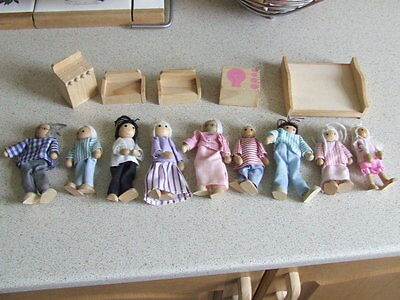 9 Wooden Dolls House Dolls And Some Wooden Furniture
