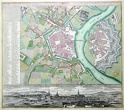 1740 SEUTTER Important Antique map plan of DRESDEN with panorama original colors