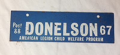 1967 Donelson Tennessee TN American Legion License Plate Topper Tag Post 88